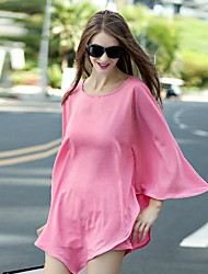Women's Casual/Daily Simple Spring Set PantSolid Round Neck Long Sleeve Pink / White