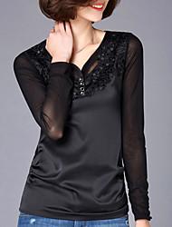 Damen Patchwork Einfach Übergröße T-shirt,Rundhalsausschnitt Herbst Langarm Blau / Rosa / Schwarz Baumwolle Mittel