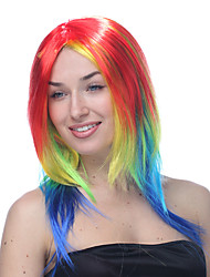 Multicolor Red Yellow Blue and Purple Long Straight Halloween Wigs Synthetic Wigs Costume Wigs
