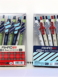 stylo gel cartton plastique fixé 12 pcs couleur d'encre assorties