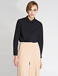 c + impressionner travail simple ressort des femmes / automne chemise col shirtsolid manches longues blanc / coton noir / bambou