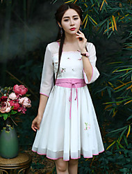 Our Story  Women's Going out Chinoiserie Sheath DressEmbroidered Strapless Knee-length  Length Sleeve