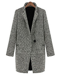 Women's Formal Street chic Coat,Houndstooth Notch