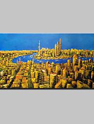 Large Size Hand Painted Abstract City Landscape Oil Painting On Canvas Wall Art With Stretched Frame Ready To Hang