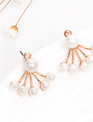 New Korean Fashion Jewelry Imitation Pearl Stud Earrings Fan-Shaped Flower Women Double Earrings Wedding Accessories