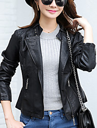 Women's Going out / Casual/Daily Simple Fall Leather Jackets,Solid Shirt Collar Long Sleeve Black PU Medium