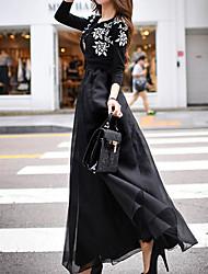 dabuwawa Frauen solide schwarze Röcke, Jahrgang / Straße chic / Punk& gothic maxi