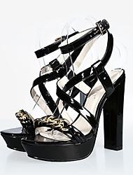 Women's Sandals Summer Heels / Platform / Sandals PU Party & Evening / Dress / Casual Chunky Heel Buckle / Chain Black