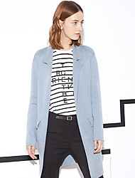 I'HAPPY Women's Casual/Daily Simple Long CardiganSolid Blue / Pink / White Notch Lapel Long Sleeve
