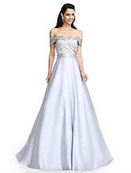 2017 TS couture® выпускного вечера официально платье вечера-линии вне плечу длиной до пола атласа с вышивкой бисером / кристалл с подробным описанием