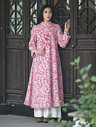 Feminino Solto Vestido,Casual Vintage Jacquard Colarinho Chinês Médio Manga Longa Rosa Lã Outono / Inverno Cintura Média Sem Elasticidade