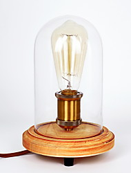 Art Deco Wooden Desk Lamps Clear Glass Lampshade Base Bulb Table Lights Wood Light Reading Lamps