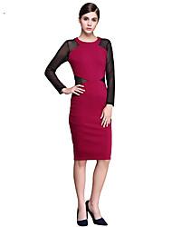 Brand Fashion  Women's Vintage / Simple Color Block Plus Size / Sheath Dress , Round Neck Knee-length Cotton / Polyester