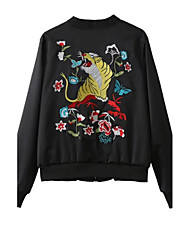 Women's Casual/Daily Chinoiserie Fall JacketsEmbroidered Crew Neck Long Sleeve Black Cotton Medium