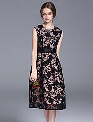 FRMZ  Women's Formal Sophisticated DressPrint Round Neck Knee-length Sleeveless Black