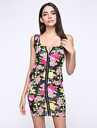 cinta mini vestido das mulheres, algodão azul / rosa / branco / preto / verde sexy / bodycon / impressão / partido