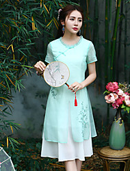 Our Story Women's Going out Chinoiserie Sheath DressEmbroidered Round Neck Midi Short Sleeve Green