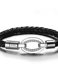 Round Flat Crysatl Inlay Cowskin Leather Bracelets