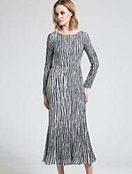 BORME Women's Round Neck Long Sleeve Maxi Dress-Y035