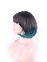 Daily Wear Short Bob Wigs With Bangs Hair Style Black Green Short Wig Synthetic Wig