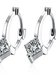 May Polly European and American 18K White Gold Earrings