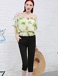 Pantalon Aux femmes Mince simple Coton / Nylon / Spandex Micro-élastique