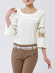 Women's Solid White Blouse,Round Neck ¾ Sleeve