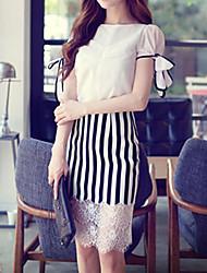 Damen Solide Einfach / Street Schick Lässig/Alltäglich Hemd,Rundhalsausschnitt Sommer Kurzarm Weiß Polyester / Elasthan