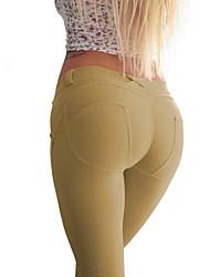 Damen Einfarbig Legging,Baumwolle Elasthan Medium