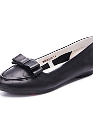 Women's Loafers & Slip-Ons Spring / Fall Comfort / Round Toe Cowhide Dress / Casual Flat Heel Bowknot shoe