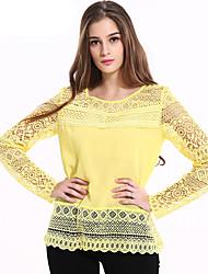 Damen Solide Einfach Ausgehen / Lässig/Alltäglich T-shirt,Rundhalsausschnitt Winter Langarm Gelb Baumwolle / Polyester Mittel