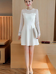 Women's Casual/Daily Cute Sheath DressSolid Round Neck Above Knee Long Sleeve White / Black Polyester