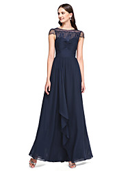 Lanting Bride® Floor-length Chiffon / Lace Bridesmaid Dress - Elegant A-line Bateau with Lace / Criss Cross