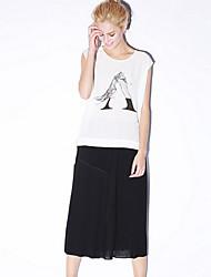 Damen Röcke - Einfach Knielang Polyester / Elasthan Mikro-elastisch
