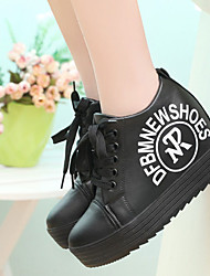 Women's Sneakers Leatherette Spring Fall Casual Walking Lace-up Platform Creepers White Black 1in-1 3/4in