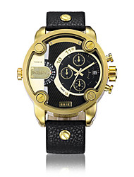 CAGARNY Men Watch /Fashion Watch / Large Dial  / Dual Time Zone  / Gold Corlor  / Japanese Quartz Calendar