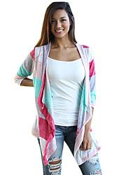 Cape / Capes Aux femmes,Couleur Pleine Décontracté / Quotidien simple Automne Manches ¾ Drapé Blanc Coton Transparent