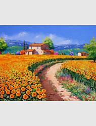 Peint à la main Paysage / A fleurs/Botanique / Paysages Abstraits Peintures à l'huile,Modern / Pastoral / Style européen Un Panneau Toile