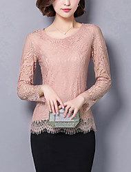 Women's Lace Casual/Daily Sexy Fall Blouse,Solid Round Neck Long Sleeve Pink/Red/White/Black/Gray