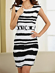 Women's Black Plus Size dress, Sleeveless Round Neck Stripes