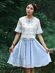 Our Story Going out Vintage Summer T-shirtEmbroidered Round Neck  Length Sleeve Blue Polyester Medium
