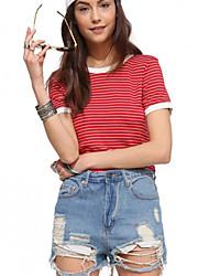 Damen Gestreift Street Schick Lässig/Alltäglich T-shirt,Rundhalsausschnitt Sommer Kurzarm Rot Baumwolle Undurchsichtig