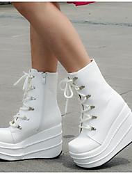 Черный / Белый-Женский-На каждый день-Полиуретан-На платформе-На каблуках-Обувь на каблуках