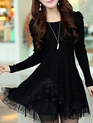 Women's Black/Blue/Pink/Red Dress , Print/Lace/Cute/Plus Sizes Long Sleeve