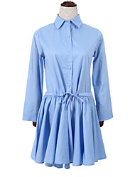 Women's Casual/Daily Simple Sheath DressSolid Shirt Collar Above Knee Long Sleeve Blue Cotton Fall High Rise