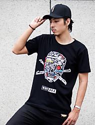 WOWTEE Hommes Col Arrondi Manche Courtes T-shirt Noir / Gris-WT-TX024-1