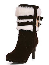 Women's Shoes Stiletto Heel Round Toe Platform Mid Calf Bootie with Fur More Color Available