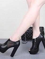 Damen-High Heels-Lässig-PU-StöckelabsatzSchwarz / Silber
