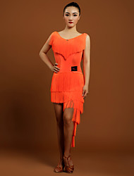 Latintanz-Kleider(Schwarz / Orange,Elastan,Latintanz) - fürDamen Kleid Ärmellos Normal