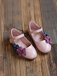 Girl's Flats Fall Comfort PU Casual Flat Heel Magic Tape / Flower Brown / Pink Others